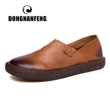DONGNANFENG Women Mother Female Ladies Shoes Flats Loafers Cow Genuine Slip On Leather Pigskin Retro Superstar 34-41 ZDA-1021
