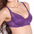 Women Bra Sexy Underwire Padded Up Lace Bra Push Up Bras 3/4 Cup