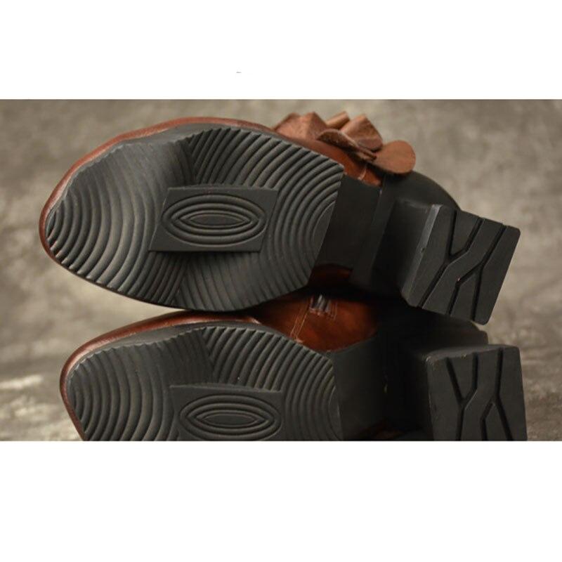 À Étanche Nues Confort Cuir Main La Noir Et Bottes Haute Courtes Plate forme Art Automne En Talons Fringe coffee D'hiver T47Eqqw