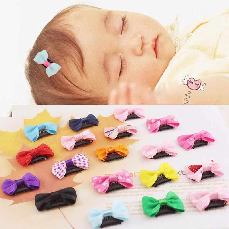 10pcs/set Baby Colorful Mini Hair Clip Solid Dot Printed Baby Bow Hair Clip Newborn Decoration Hair Pin Kids Hair Accessories