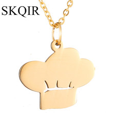 SKQIR Cute Chief Hat Pendant Necklace Women Office Lady Gold Chain Necklace Statement Jewelry For Men/Female New colar masculino
