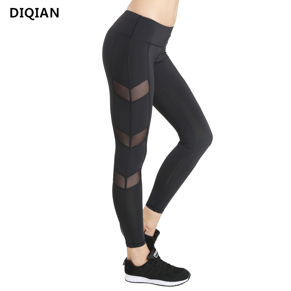DIQIAN Compression Mesh Yoga Pants for Women Women Fitness Gym Sportswear Quick Dry Running Tights Wide waistband Yoga leggings