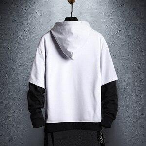 Image 3 - 2019 jesień nowy nabytek męska bluza modna, patchworka bluzy męskie Casual bluzy z kapturem z literami Hip Hop bluzy z kapturem US rozmiar