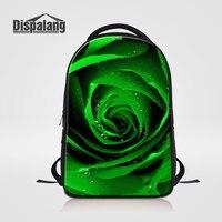Dispalang Personalized Design Green Rose Women S Laptop Backpack Flower Schoolbags Rucksack For Teenage Girls Mochilas