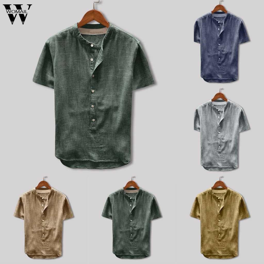 Womail T-shirt Men Summer Solid Button Polyester Short Sleeve Top  fitness T-shirt Gift fashion Casual NEW 2019 M22