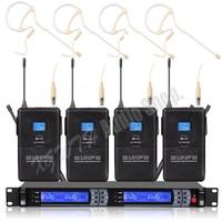 전문 디지털 uhf 무선 마이크 시스템 4 earset 단일 귀 교수형 무선 마이크 마이크 헤드셋 수신기