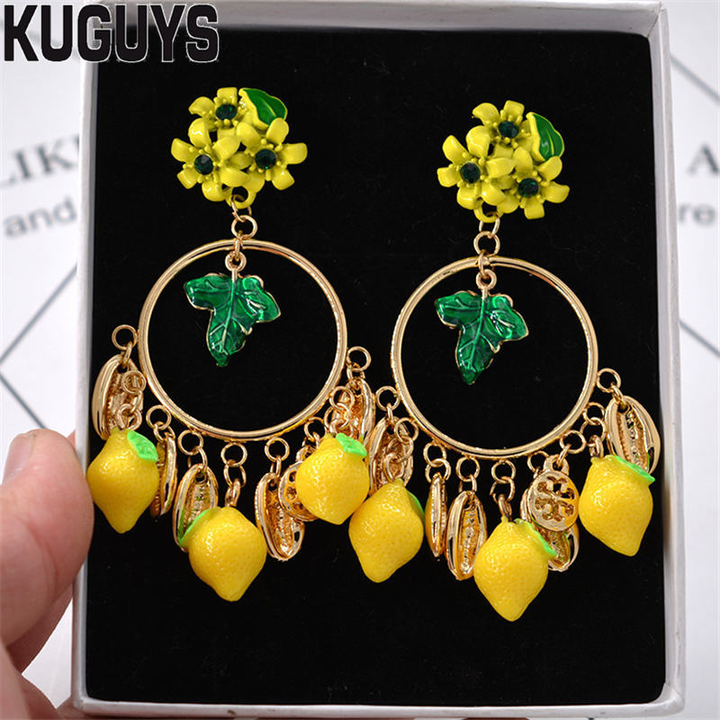 Женские серьги-подвески с лимоном KUGUYS, Винтажные серьги золотистого цвета в стиле барокко, свадебные аксессуары