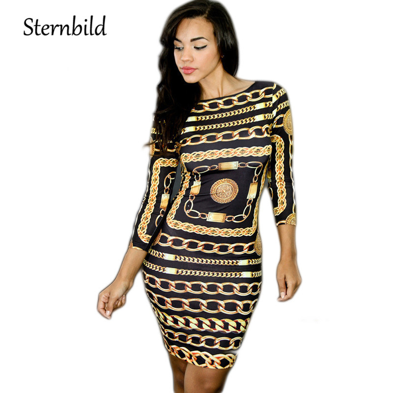 STERNBILD European Style Sexy Chain Dress Women Summer O-Neck Three Quarter Sleeve Pencil Dress Bodycon Night Club Thin Slim