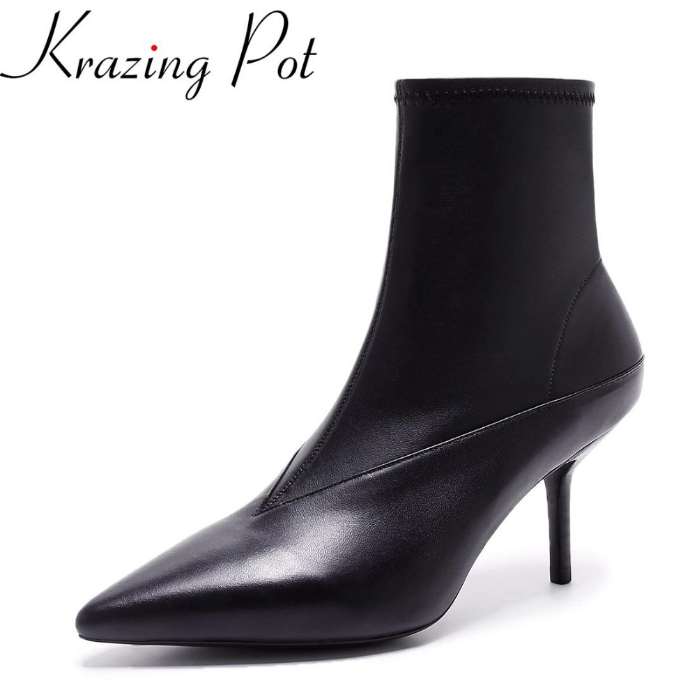 Krazing Pot 2018 new arrival genuine leather pointed toe high heel fashion winter shoes runway zipper women Mid-Calf boots L11