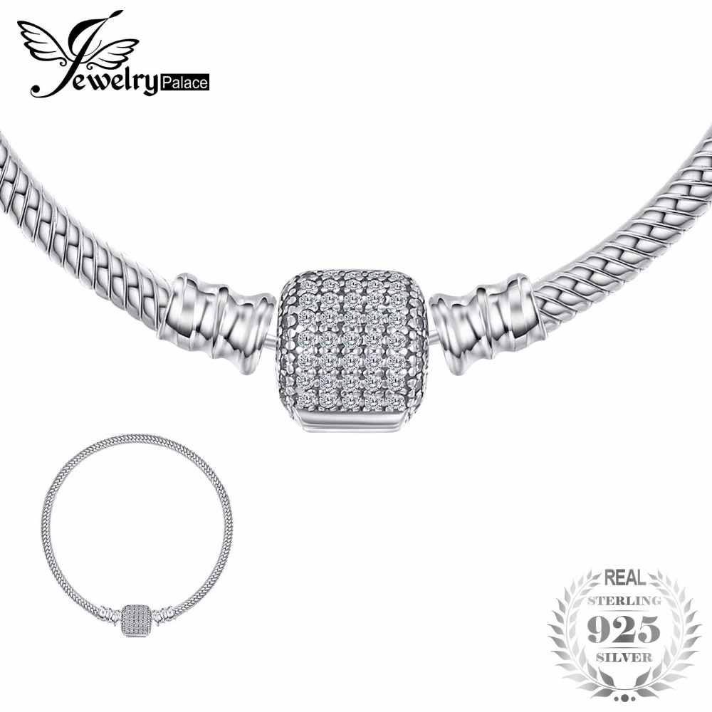 все цены на Jewelrypalace 925 Sterling Silver Elegant Signature Clasp Bracelets Gifts For Women Anniversary Fashion Jewelry 16-19cm