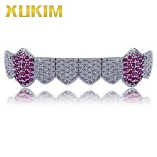 Xukim Jewelry Bling Silver Gold Color Iced Out Teeth Grillz Bottom Grillz Muti-Color Vampire Fangs Rapper Hip Hop Jewelry Gift xukim jewelry bling bing silver gold color zirconia iced out top