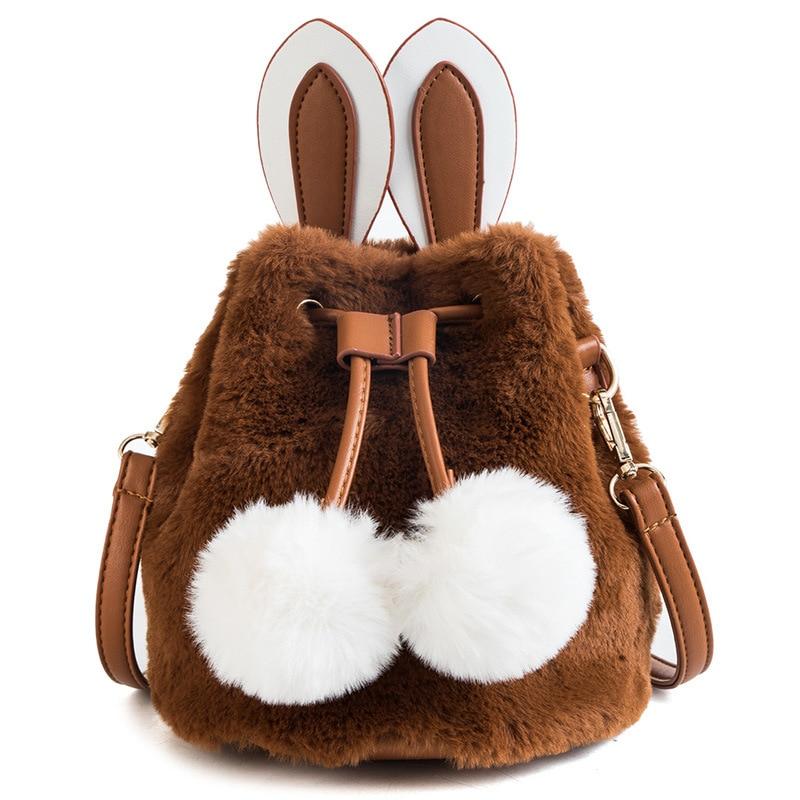 Новинка зимы 2018, милая детская мини сумка принцессы для девочек, модная сумка через плечо с кроличьим искусственным мехом, сумка мессенджер