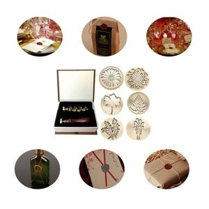 Image 5 - Prezent Moorlando pieczęć woskowa zestaw stempli, 6 sztuk botaniczny pieczęć wosk pieczęć mosiężne głowy + 1Pc drewniany uchwyt z pudełkiem Vintage