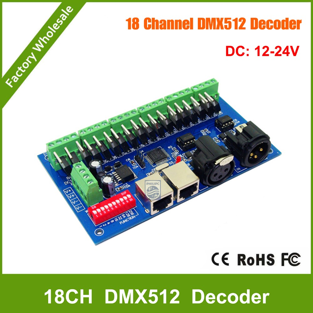 где купить DHL Free shipping 18 channel DMX Dmx512 Decoder,Drive,DC12V-24V 6 groups output for LED strip light,RGB node,module дешево