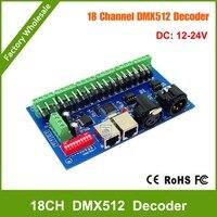 DHL Free shipping 18 channel DMX Dmx512 Decoder,Drive,DC12V 24V 6 groups output for LED strip light,RGB node,module