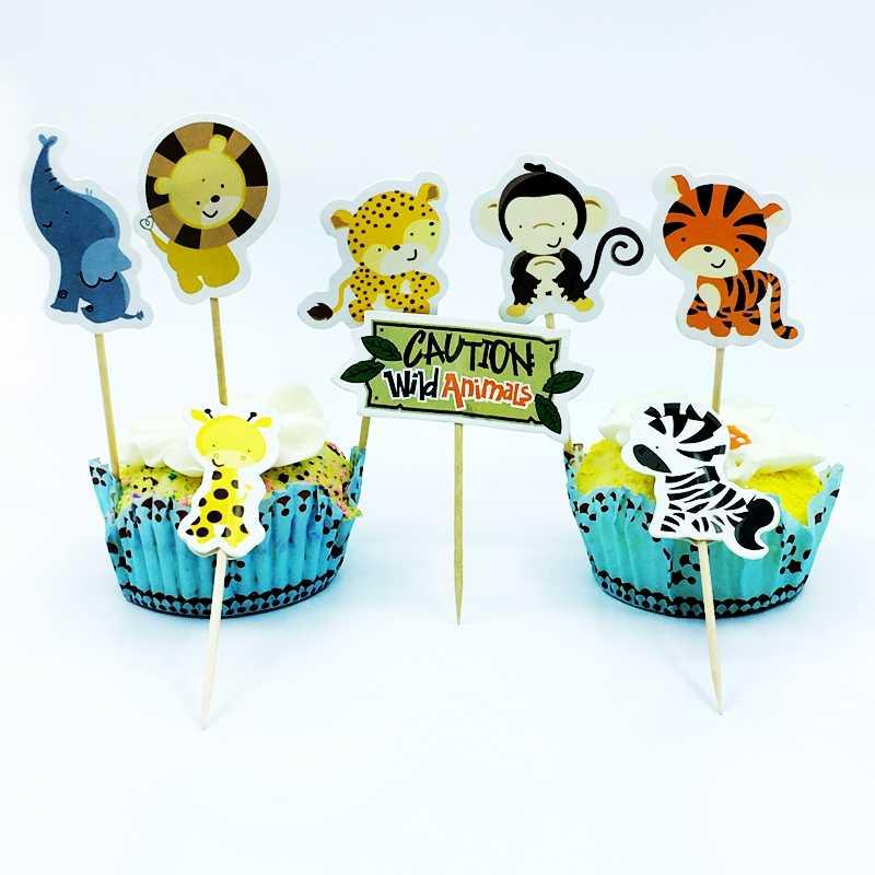 24 шт. сафари Джунгли животных, зоо, кекс, пироги, дети для именинного пирога для украшения детского душа, мальчик, милое украшение торта