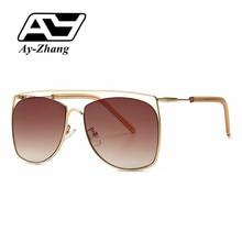 Gafas de sol de moda ay-zhang, gafas de sol amarillas y azules para mujeres y hombres, montura de aleación, gafas Vintage de gran calidad