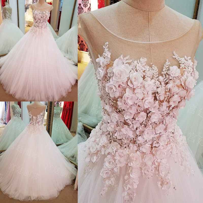 Wedding Gowns With Flowers: Pink Flower Women Wedding Dresses Ball Gown Cap Sleeves