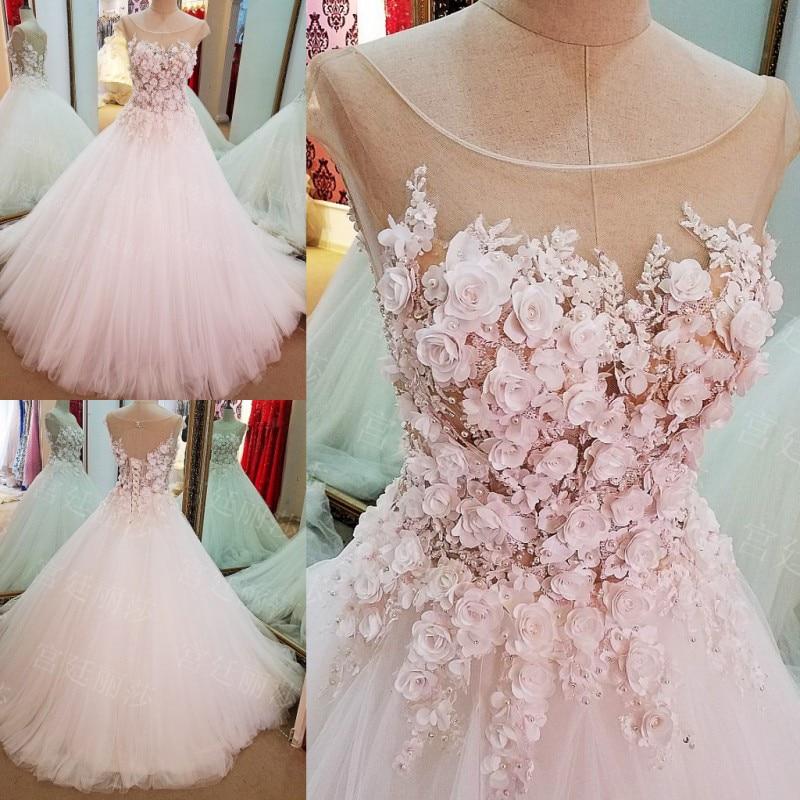 Pink Flower Women Wedding Dresses Ball Gown Cap Sleeves