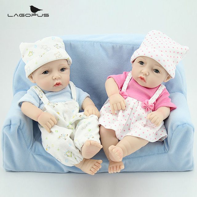 "Full Body Silicone Reborn Dolls 10"" Cute Twins Vinyl Baby Doll Real Lifelike Baby Dolls Toys For Children"