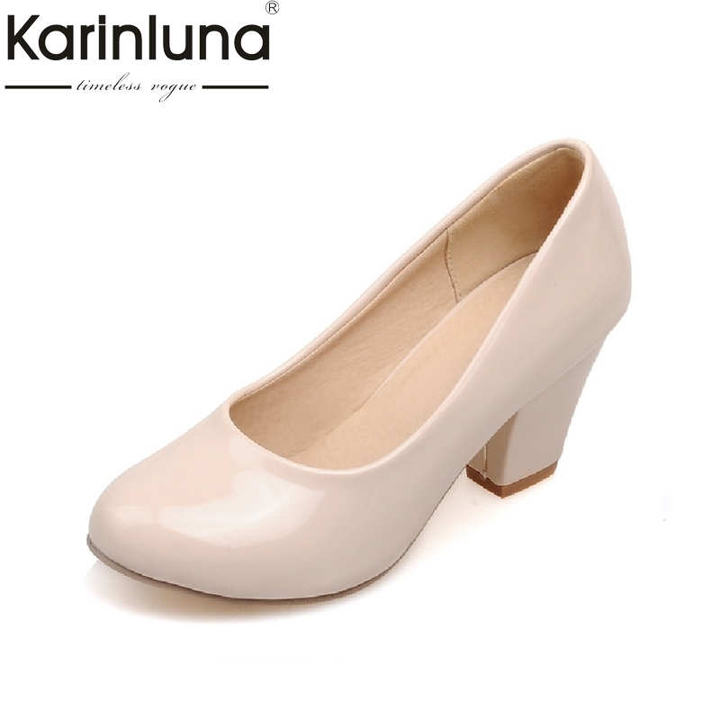 KarinLuna Big Size 33-43 Classic Women Pumps All-matches Chunky High Heel Shoes Party Wedding Office Ladies Patent Footwear amourplato women s ladies handmade fashion big large size thick block heel closed toe high heel party office pumps chunky shoes