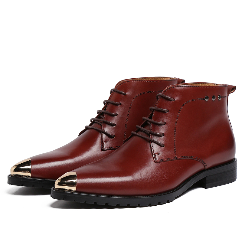 EU38-44 2016 New men's boots formal genuine leather fashion metal round toe full grain leather lacing up shoes Bronw/black color elevator funky full grain genuine leather rub skin color korean new arrival thread bandage round toe safety boots thick soled