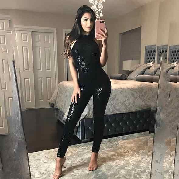 Body negro sexi con purpurina, Mono para mujer, body para mujer, body para mujer, 2019, fiesta, club, otoño DC340