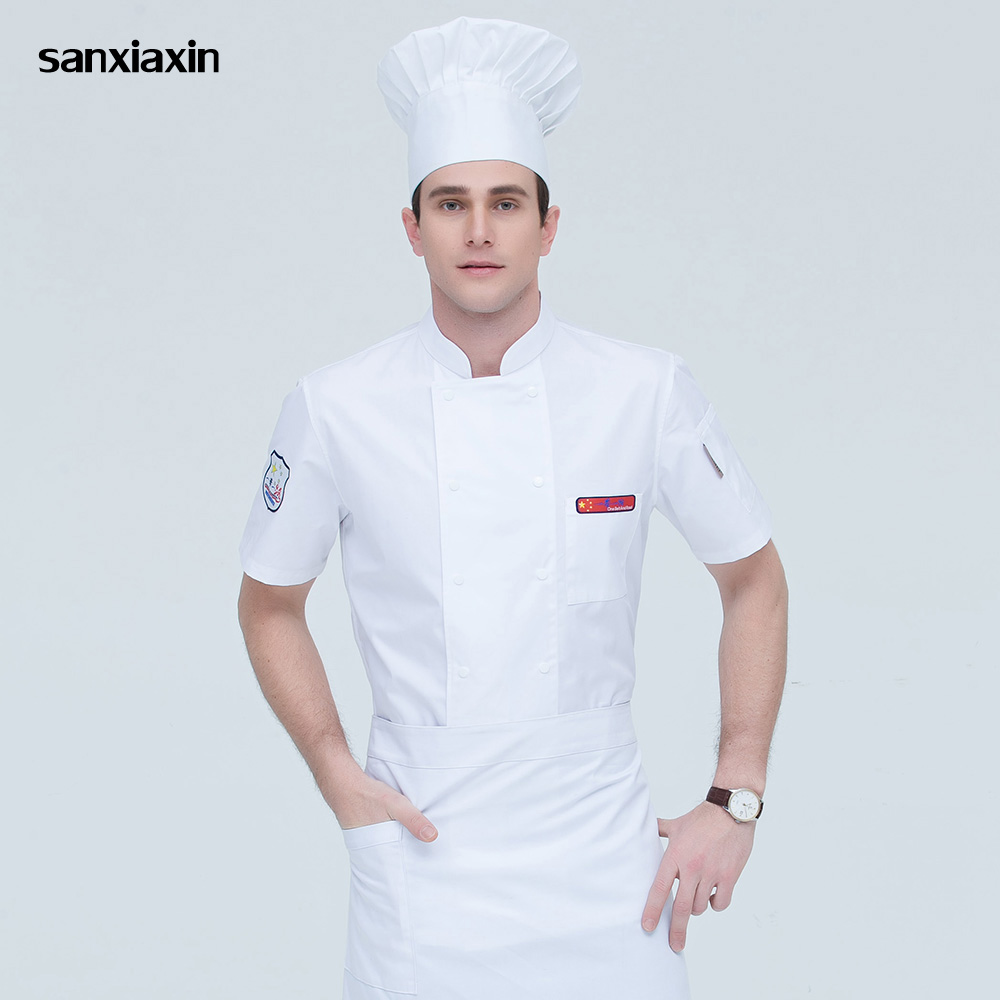 Short Sleeved Catering Workwear Restaurant Uniforms Shirts Hotel Kitchen Chef Jackets Double-breasted Food Service Work Clothes