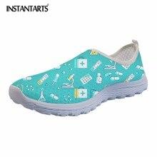 Instantarts 2018 여름 여성 슬립 온 플랫 신발 간호 패턴 통기성 숙녀 운동화 신발 패션 에어 메쉬 여성 플랫