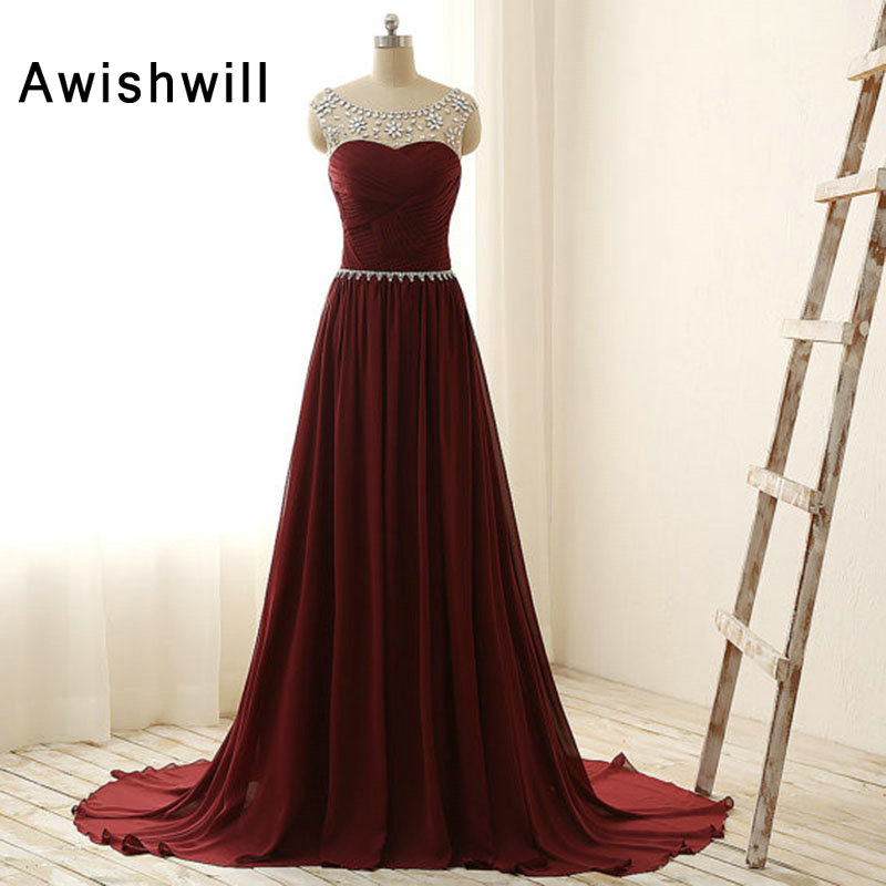 Burgundy Long Evening Dress Cap Sleeve Beaded Ruched Chiffon A-line The Bride Party Prom Dresses Custom Plus Size
