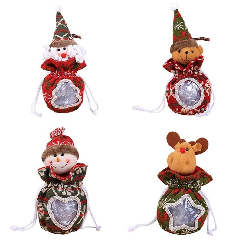 Old Man Christmas Gifts: 2018 Santa Snowman Apple Bag Old Man Elk Figurine Candy
