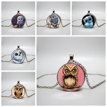 Cute owl art pattern glass cabochon pendant necklace, men and women gift necklace, custom private picture 2019 cute owl pendant and necklace tricolor long chain necklace retro glass cabochon gift ornament necklace