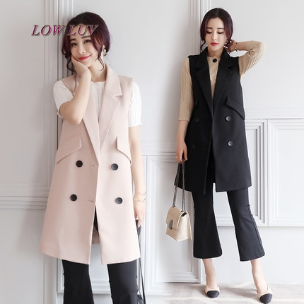 Spring and Autumn suit vest female long coat 2017 new fashion Korean version of the cardigan suit vest