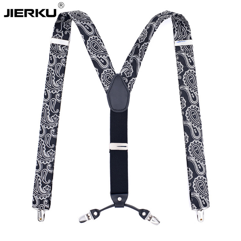 JIERKU Suspenders Man's Braces Leather 6 Clips Suspensorio Fashion Trousers Strap Father/Husband's Gift Tirantes Hombre CR6C-1