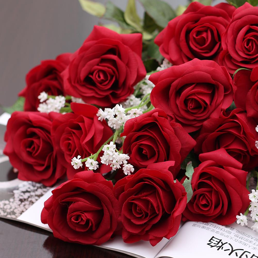 1pc Real Touch Rose Pu Artificial Flowers Silk Wedding Bouquet
