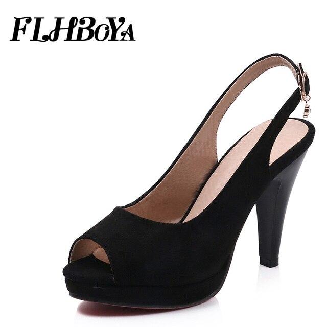 a515cf466be 2019 New Women Buckle Strap Sexy high Spike heel Platform Pumps Shoe For Woman  Lady Elegant Slingbacks Peep Toe Femme Pump 10cm