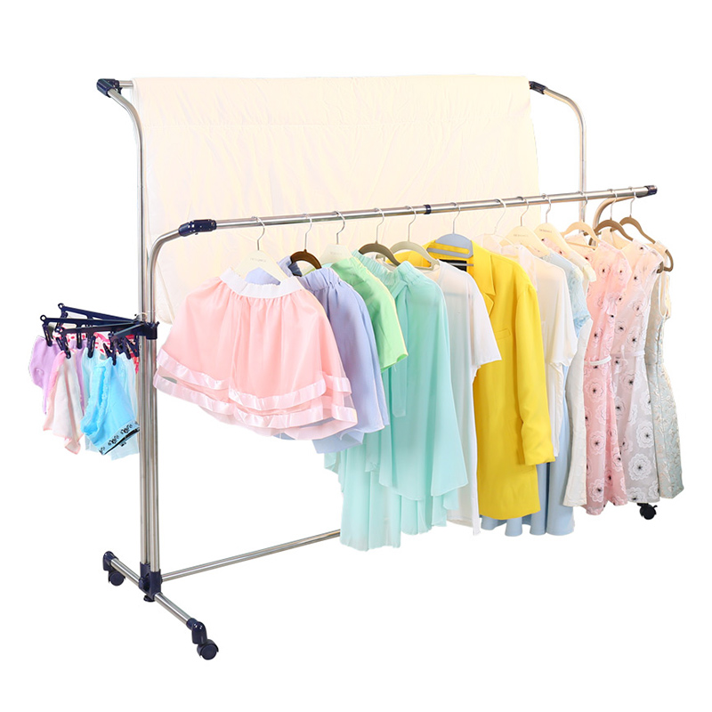 Length Width Adjusting Balcony Clothes Laundry Rack Outdoor Sheet Blanket Quilt Drying Rack with Wheels Sock Hanger Clips DQ0812
