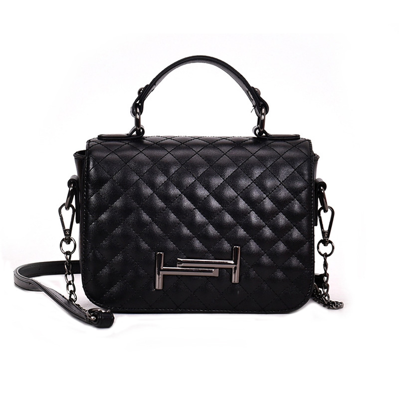 Mnee Classic Quilted Handbag for Women with Chain Strap Vintage Leather Shoulder Bag Female Ladies in 2018 Crossbody Sling Bag chain detail quilted bum bag