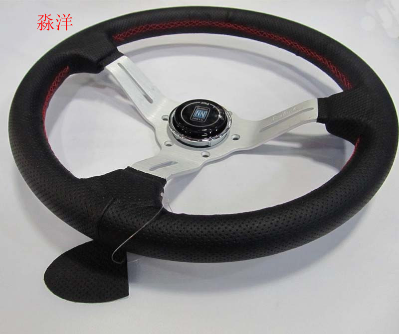 Free Shipping Car Styling 13/330mm Steering Wheel ND Real Leather Racing Drifting Tuning Steering-Wheel Red Stitching image
