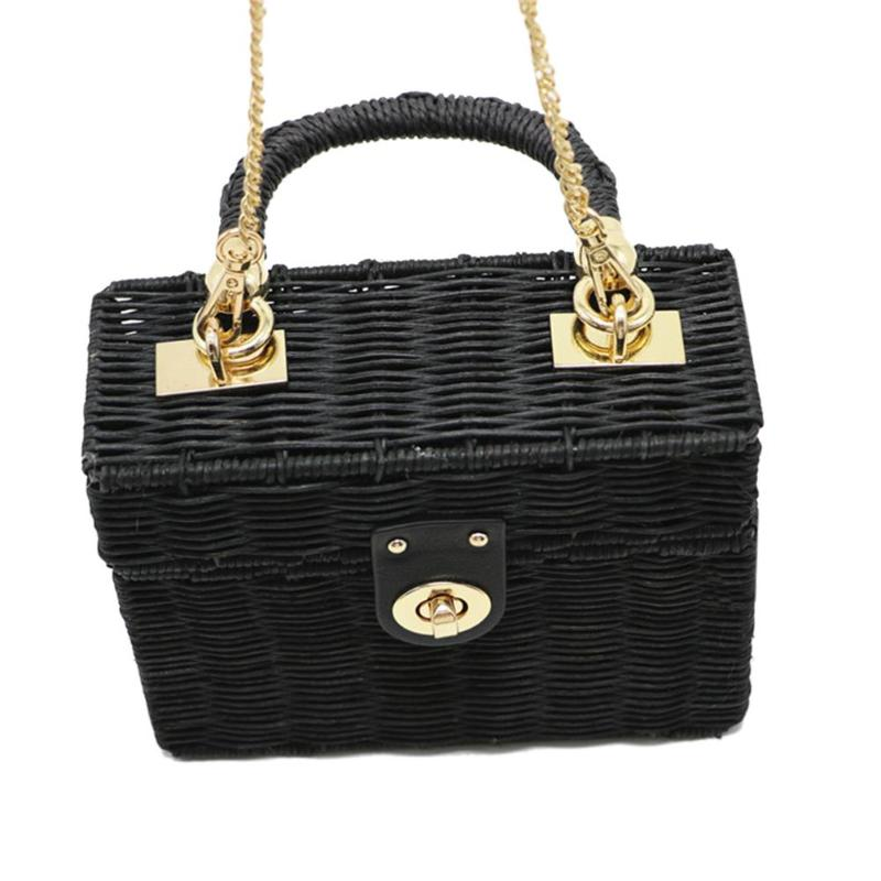 88ad5d8464ac Summer Women Handmade Beach Chain Messenger Shoulder Bag Case Box Wicker  Straw Woven Raan Handbags Features  The fashion version of the type concise  but not ...