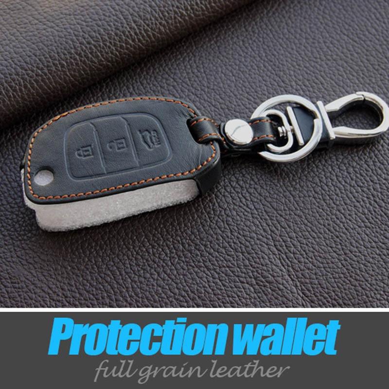 Genuine Leather Car Key Covers Case Holder Keychain For Hyundai Motor Sonata Ix35 Avante Porter Grandeur Santafe Flip Fold Cover