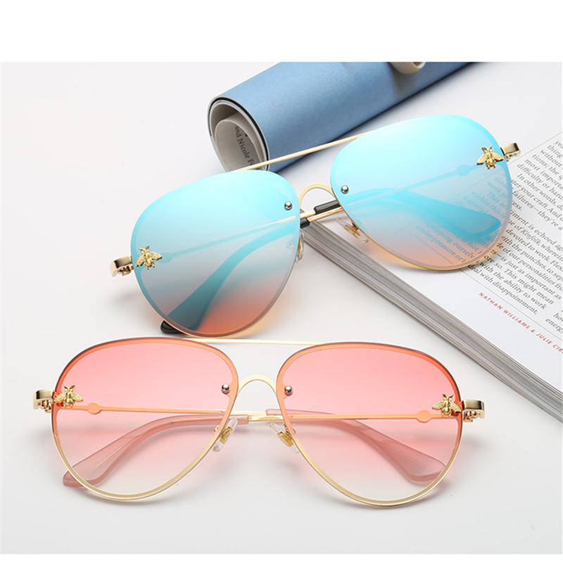 Bee Pilot Sunglasses Vintage Glasses Shades for Women Men Metal Frame Fashion New Designer Sunglasses Women Accessories