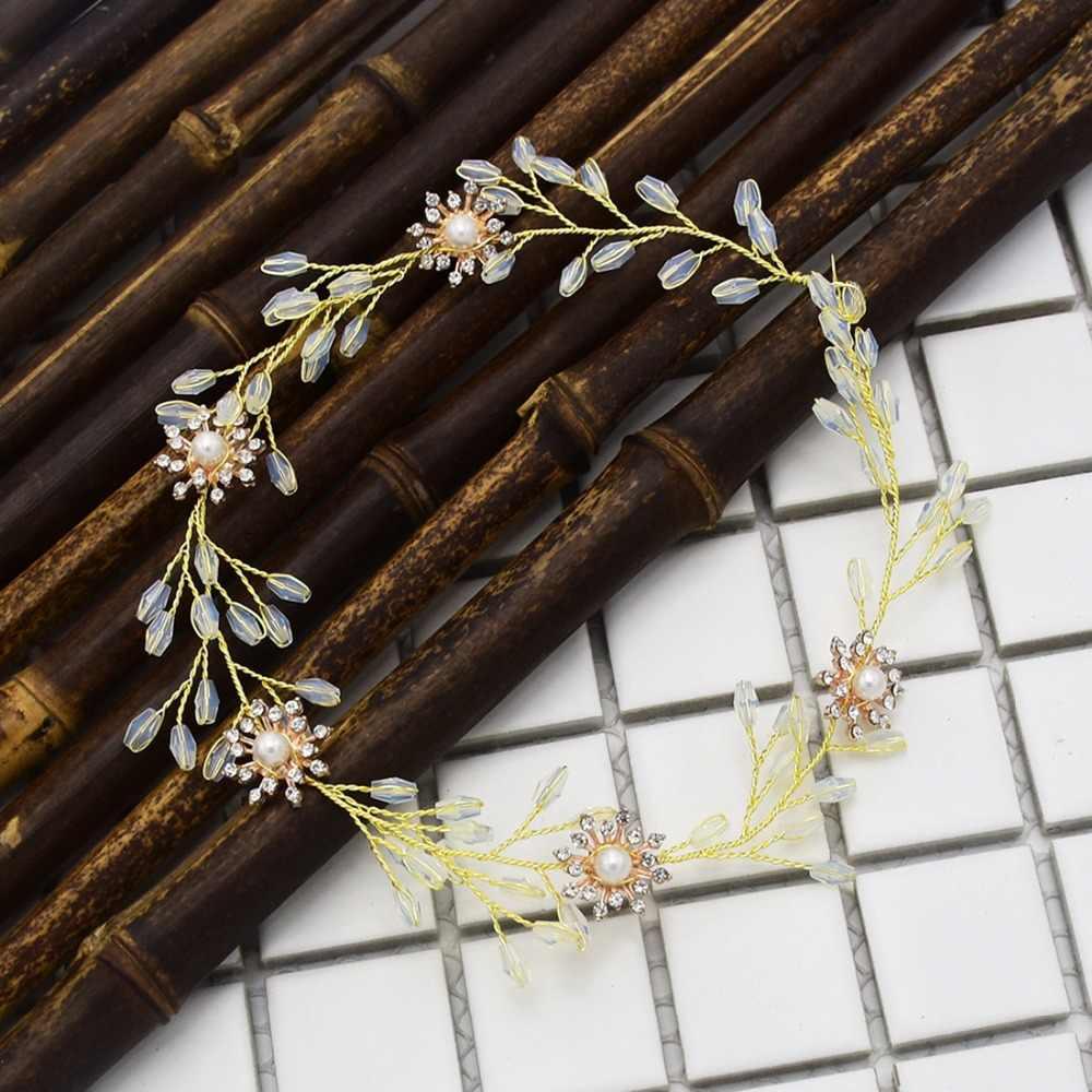 Bandeau de feuille de cristal opale de luxe pour les décorations de cheveux de mariée diadème mariée Frontlet accessoires de cheveux tête bijoux