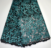 Latest 100% High Quality Nigeria Black+Teal Double Organze sequins Handcut African wedding lace fabric 5 yards for Men