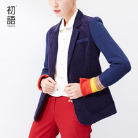 Toyouth 2015 Women Single Button Blazer Short Design Cotton Long Sleeve Slim Blazer Color Block Patchwork