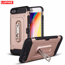 LUPHIE hybrid Rugged Armor Shockproof Mobile Phone case for iPhone 6 6s 7 8Plus X XS MAX TPU Case Metal Kickstand slot Card
