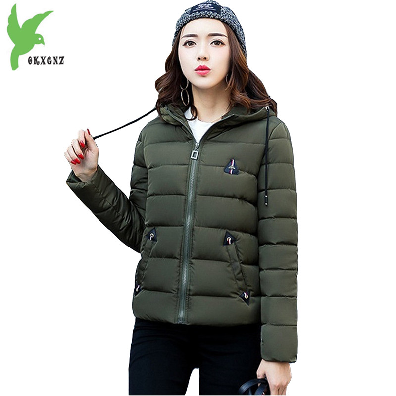 Short Down Cotton Coats 2017 Winter Fashion Solid Color Hooded Casual Costume Keep Warm Tops Plus Size Slim Jackets OKXGNZ A819 winter women s cotton coats solid color hooded casual tops outerwear plus size thicker keep warm jacket fashion slim okxgnz a712