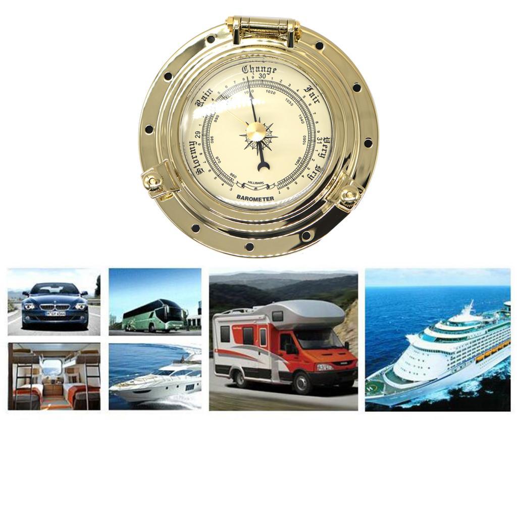 Gold Marine Boat RV Yacht Retro Barometer Air Pressure Gauge for Navigation gesslein s4 air marine