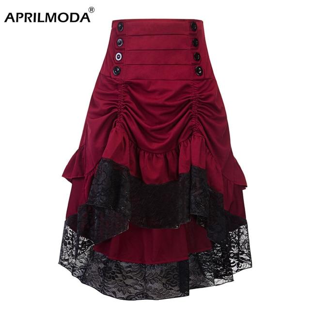 תחפושות Steampunk גותי חצאית תחרה נשים בגדי גבוהה נמוך לפרוע מפלגה לוליטה אדום מימי הביניים ויקטוריאני פאנק סקטים כפתור קדמי