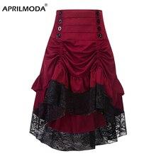 Trajes steampunk gótico saia rendas roupas femininas alta baixa plissado festa lolita vermelho medieval vitoriano punk skater botão frente